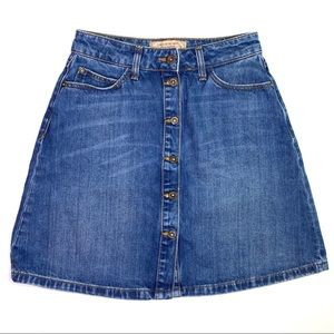 Zara Button Front Denim Mini Skirt Extra Small